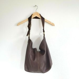 Lucky Brand Pebble Leather Tote Dark Brown Large